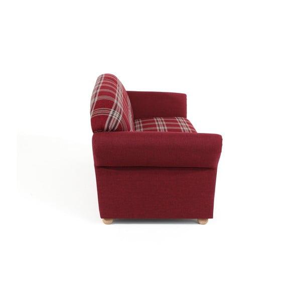 Červená kostkovaná trojmístná pohovka Max Winzer Corona