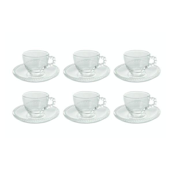Trasparenti csésze és csészealj szett, 6 darab, 80 ml - Villa d'Este