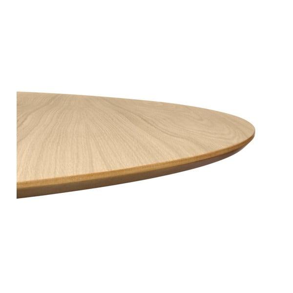 Jídelní stůl v dekoru dubového dřeva s černým podnožím TemaHome Row, ⌀ 150cm