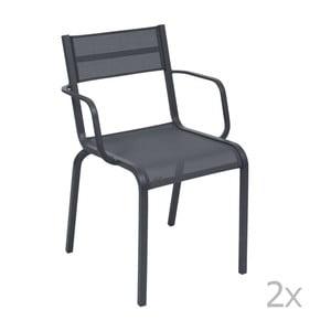 Sada 2 antracitově šedých kovových zahradních židlí Fermob Oléron Arms