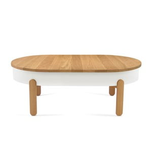 Masă din lemn de stejar cu spațiu de stocare Woodendot Batea L, alb