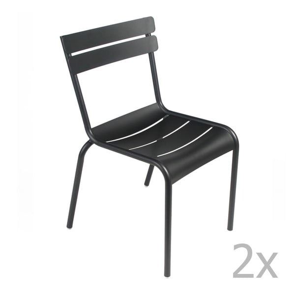 Sada 2 černých židlí Fermob Luxembourg