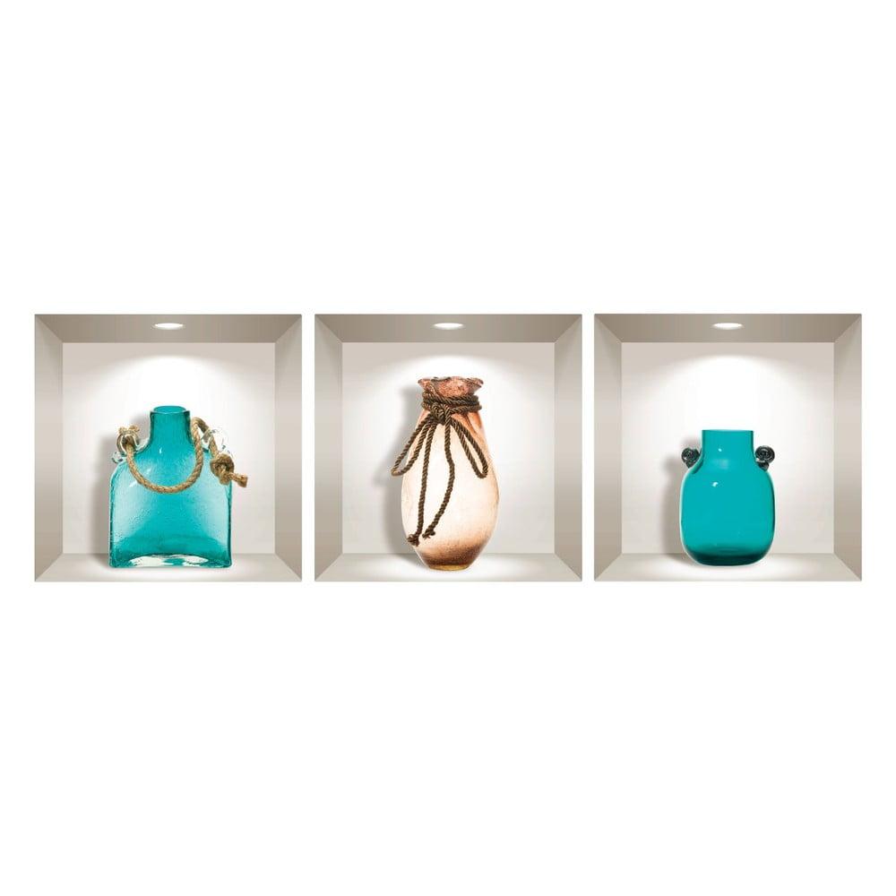 Produktové foto Sada 3 3D samolepek na zeď Ambiance Decorative Seaside Vases