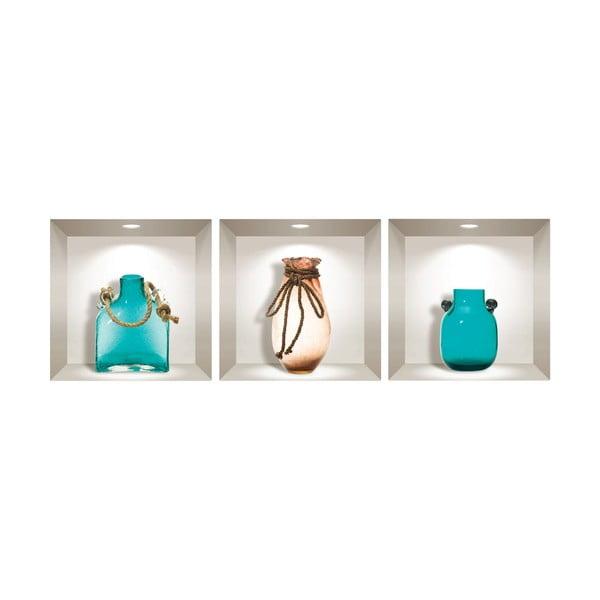 Sada 3 3D samolepek na zeď Ambiance Decorative Seaside Vases