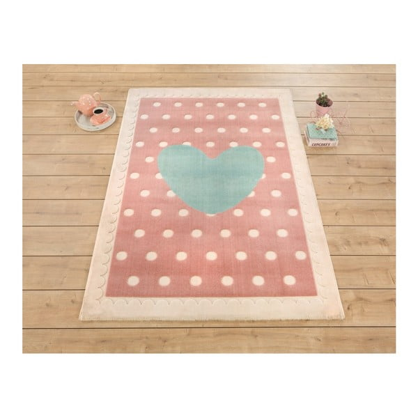 Dětský růžovo-modrý koberec Heart, 133x190cm