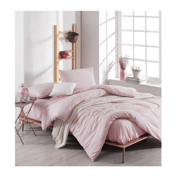 Lenjerie de pat cu cearșaf Meruna, 200 x 220 cm, roz deschis