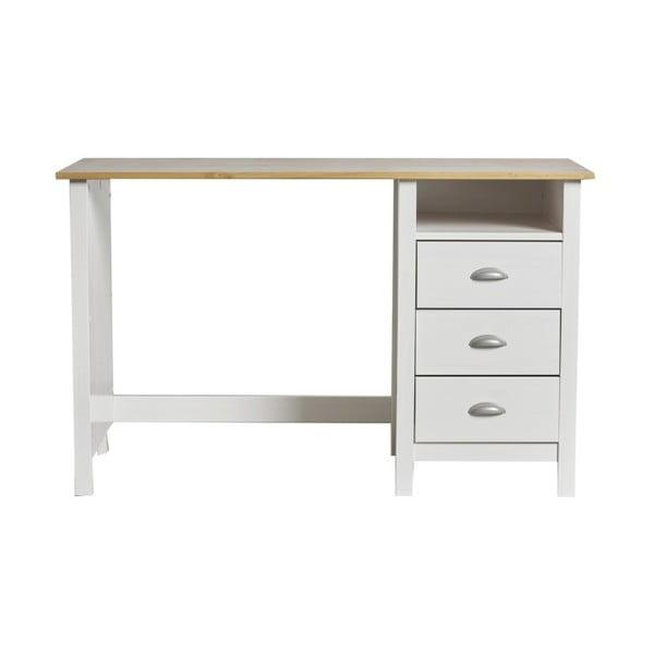 Biely pracovný stôl z masívneho borovicového dreva s 3 zásuvkami Marckeric Jade