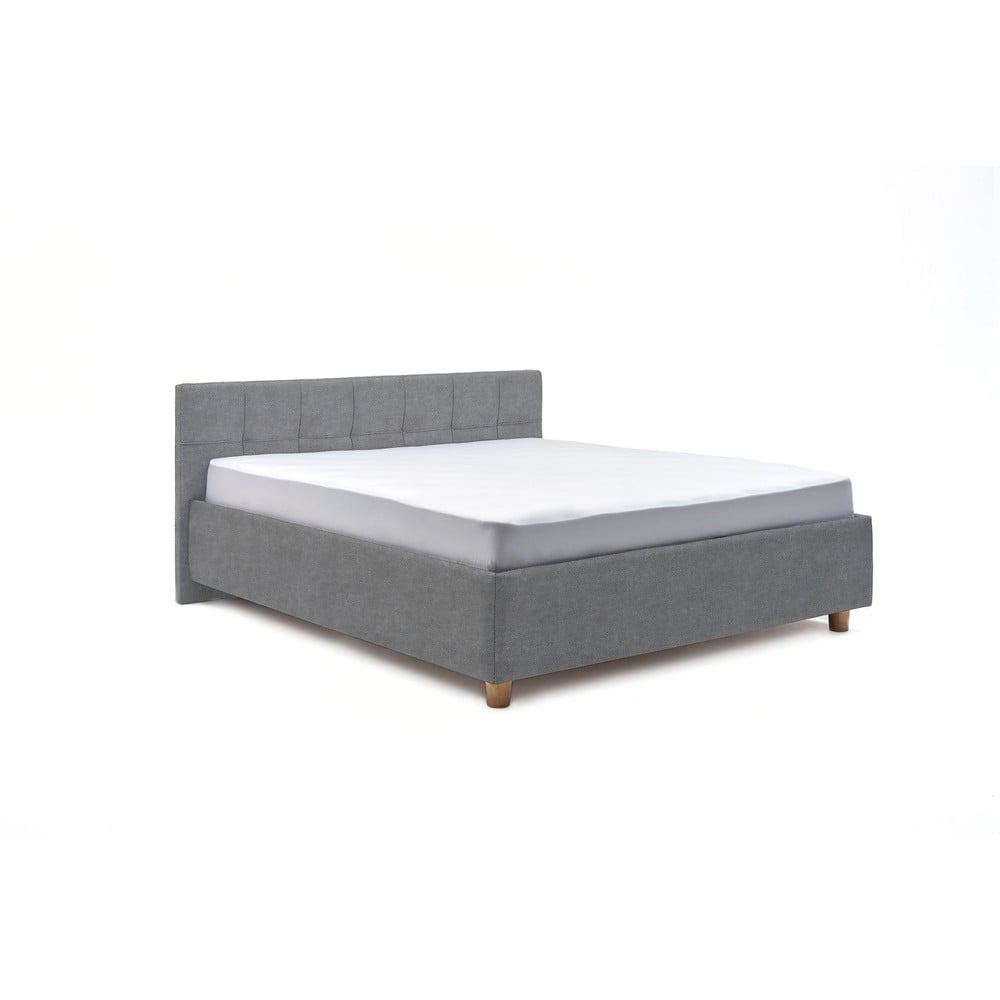 Modrošedá dvoulůžková postel s úložným prostorem ProSpánek Leda, 160 x 200 cm