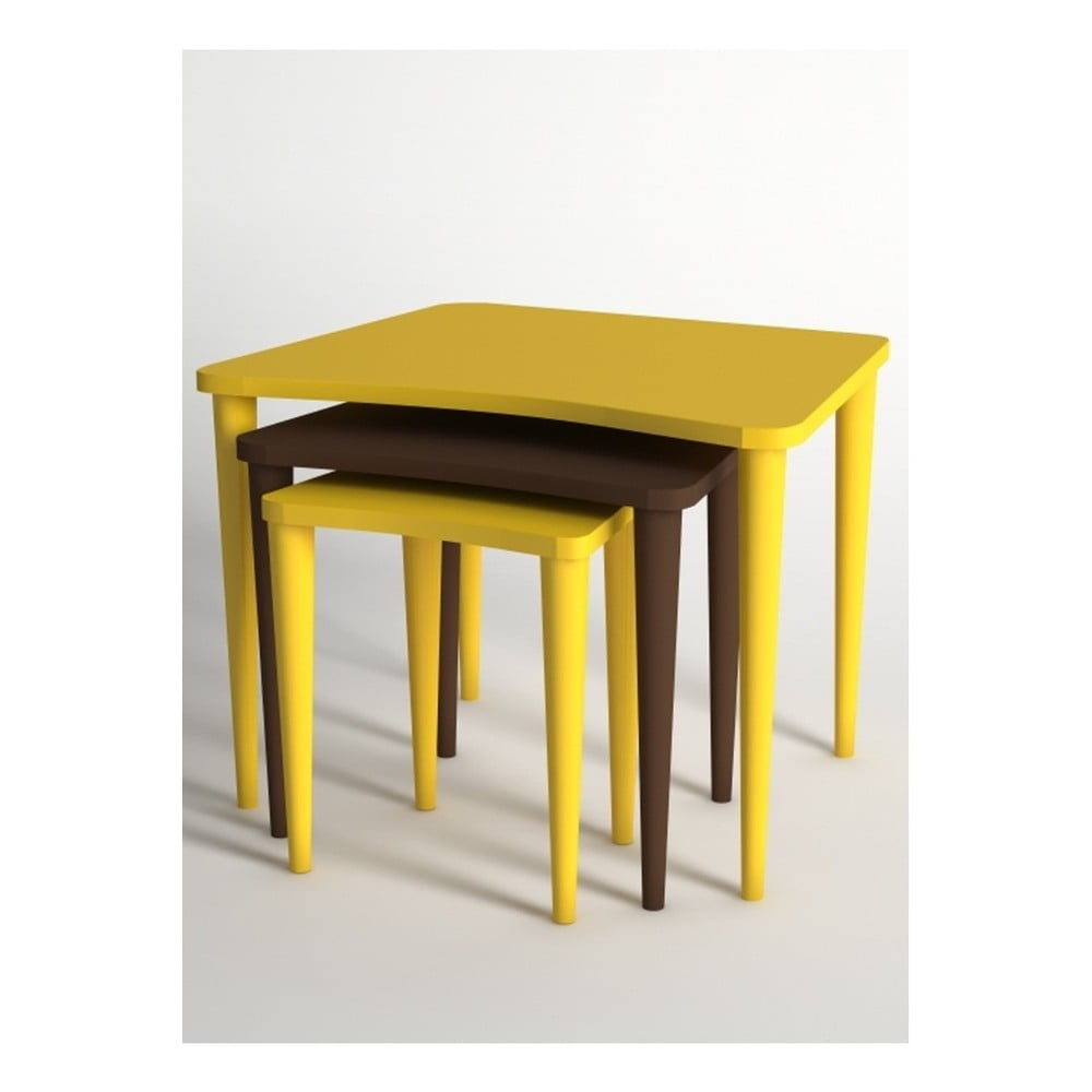 Sada 3 konferenčních stolků v hnědé a žluté barvě Monte Nero