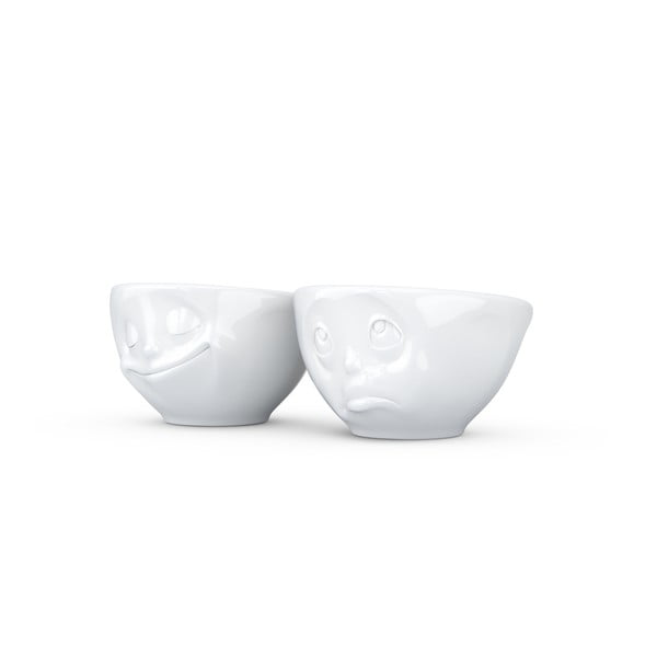 Sada 2  bílých šťastných hrnků na espresso 58products