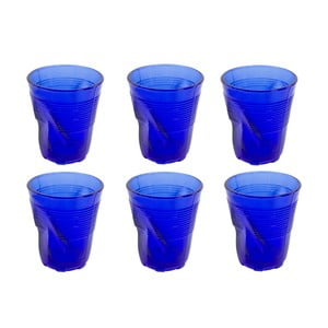 Sada 6 modrých sklenic Kaleidos, 225ml