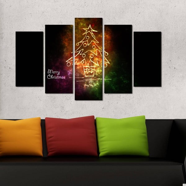 Pětidílný obraz Christmas no. 2, 110x60 cm