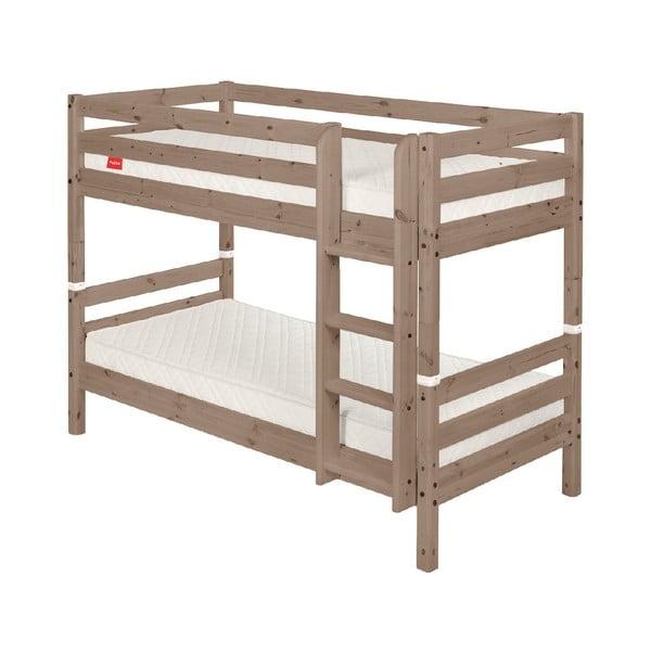 Brązowe dziecięce łóżko piętrowe z drewna sosnowego Flexa Classic, 90x200 cm