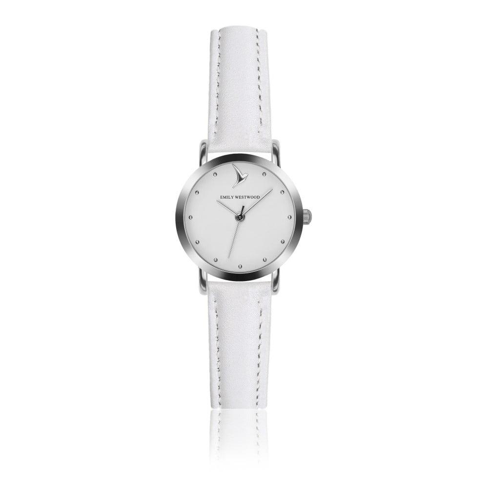 Dámské hodinky s bílým páskem z pravé kůže Emily Westwood Tweet
