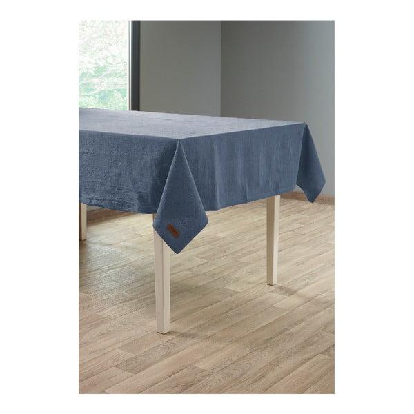 Tmavě modrý ubrus s příměsí lnu Tiseco Home Studio, 135 x 240 cm