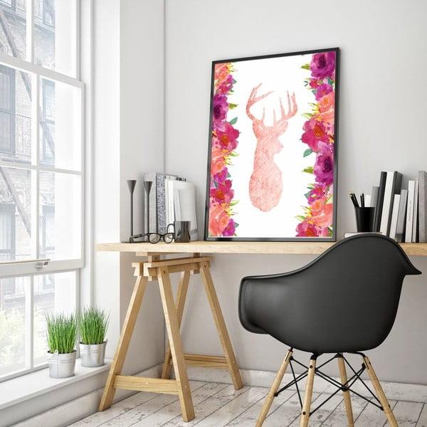 Plakát v dřevěném rámu Pink Deer, 38x28 cm