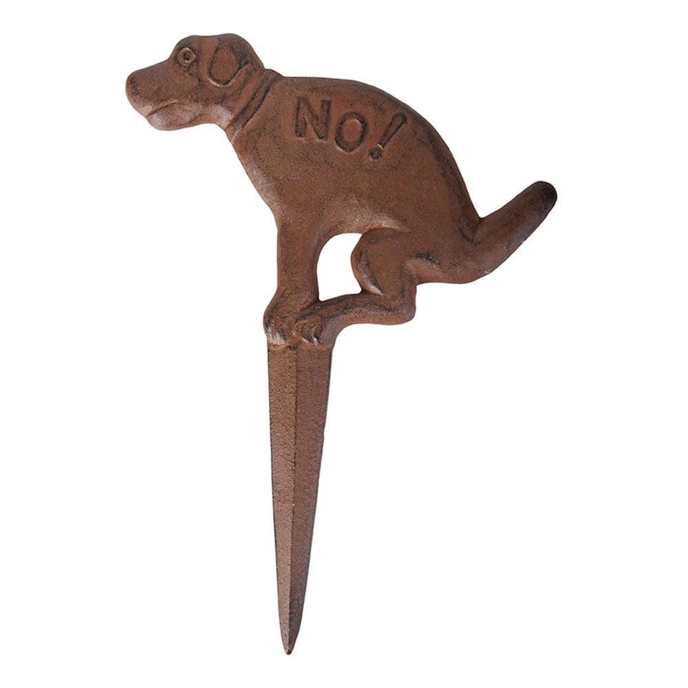 Hnědá litinová zapichovací cedulka s motivem psa Esschert Design