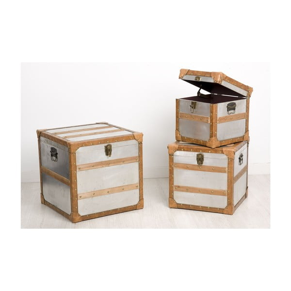 Sada 3 úložných krabic Aule