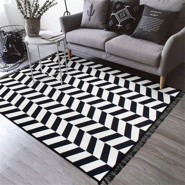 Černo-bílý oboustranný koberec Morpheus, 120 x 180 cm