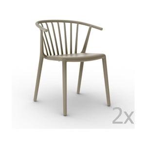 Sada 2 béžových zahradních židlí Resol Woody