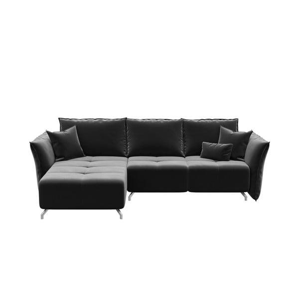 Canapea extensibilă cu șezlong pe partea stângă devichy Hermes, gri închis