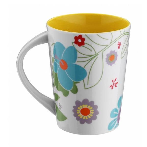 Žlutý porcelánový hrnek Flowers, 400ml