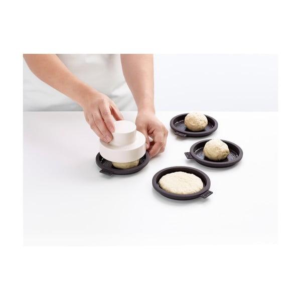 Sada 4 černých silikonových formiček na bulky na burgery Lékué