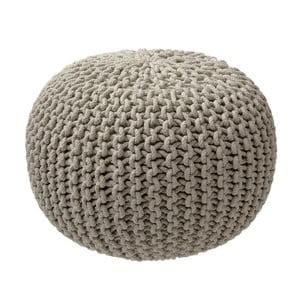 Puf tricotat ZicZac, bej-gri