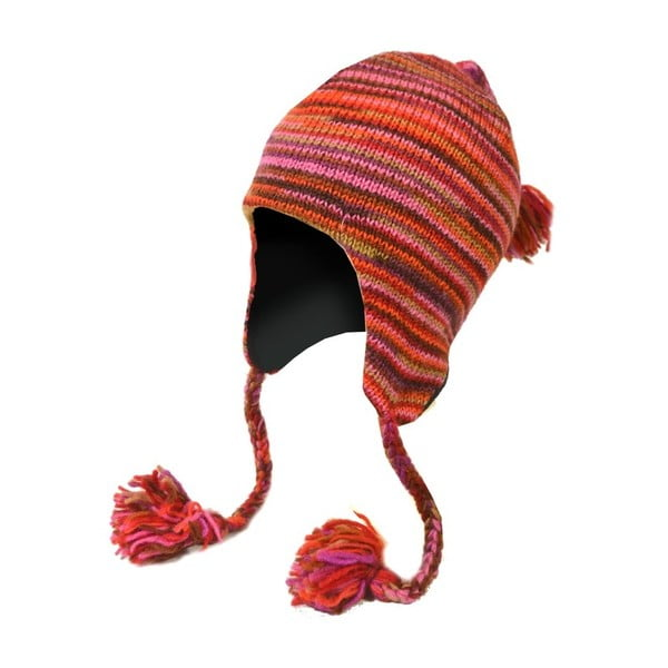 Vlněná čepice s ušima Spacedye Red