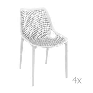 Sada 4 bílých zahradních židlí Resol Grid