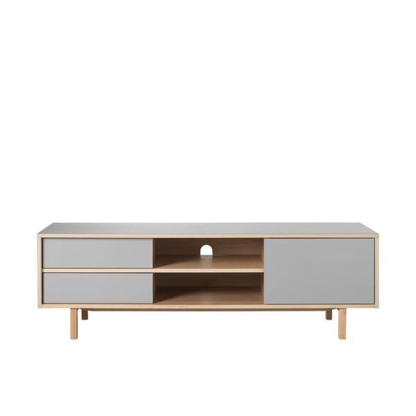 Bilbao szürke TV-állvány tölgyfa lábakkal - Unique Furniture