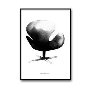 Autorský plakát Swan Chair, 50x70 cm