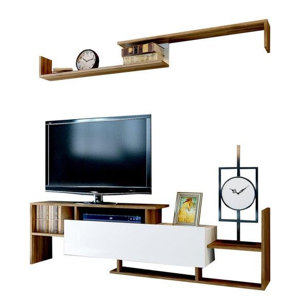 Biała szafka pod TV z dekorem drewna orzecha Rain