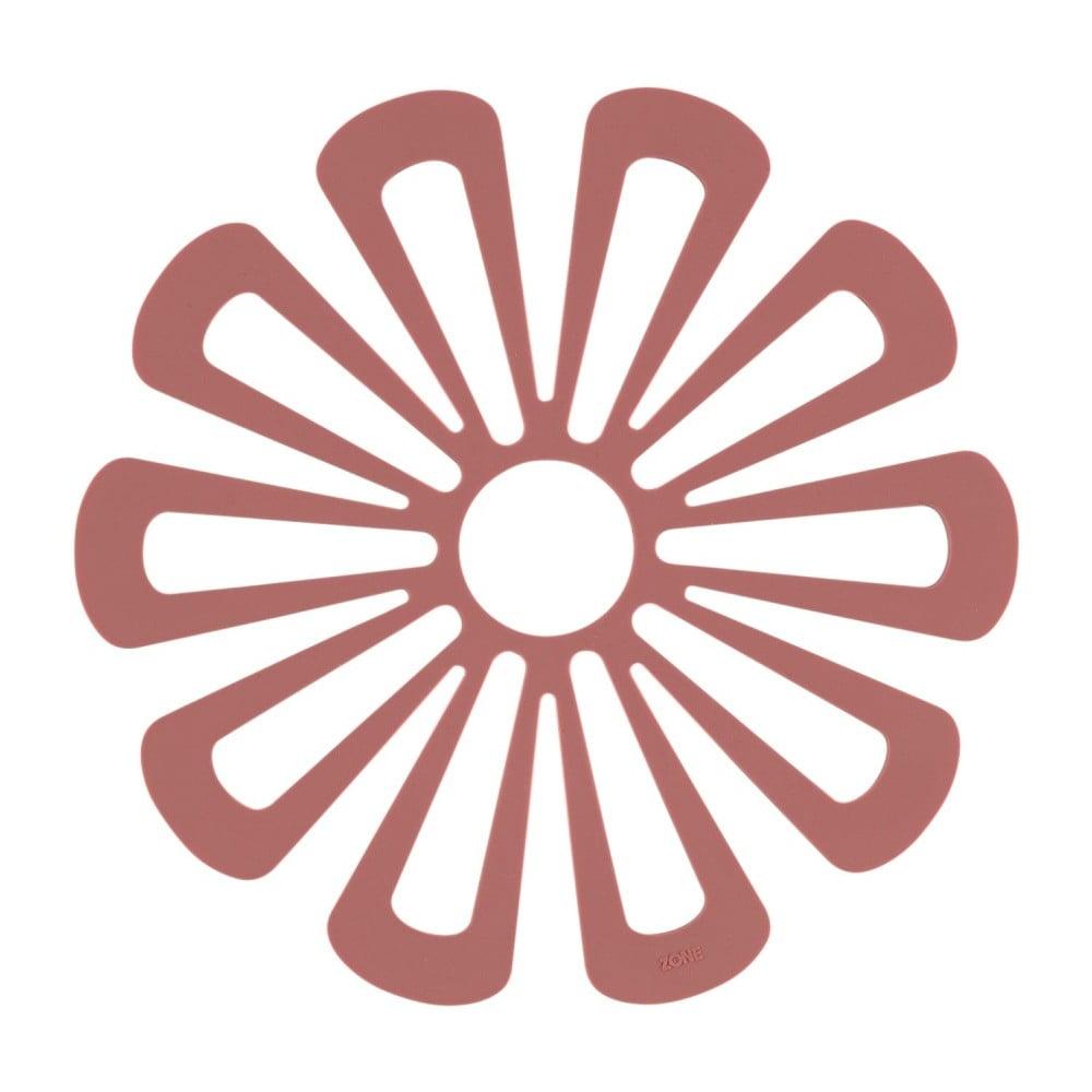 Červená silikonová podložka pod horké nádoby Zone Flower