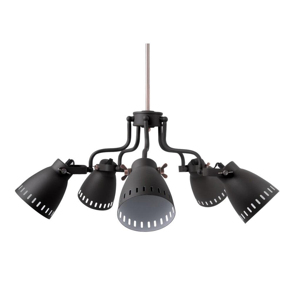 Černé závěsné svítidlo s detaily v měděné barvě a 5 objímkami Leitmotiv Mingle