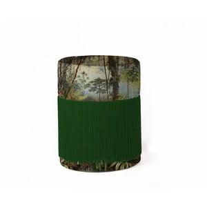 Puf s tropickým motivem se sametovým potahem Velvet Atelier, Ø 36 cm
