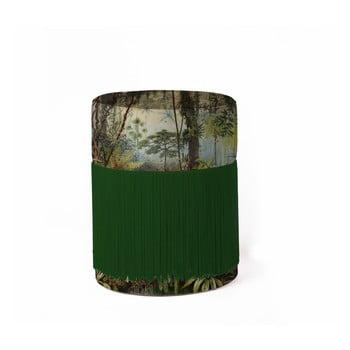Puf cu motive tropice și husă din catifea Velvet Atelier, ø 36 cm de la Velvet Atelier