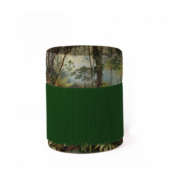 Trópusi mintás puff bársony kárpittal, ø 36 cm - Velvet Atelier