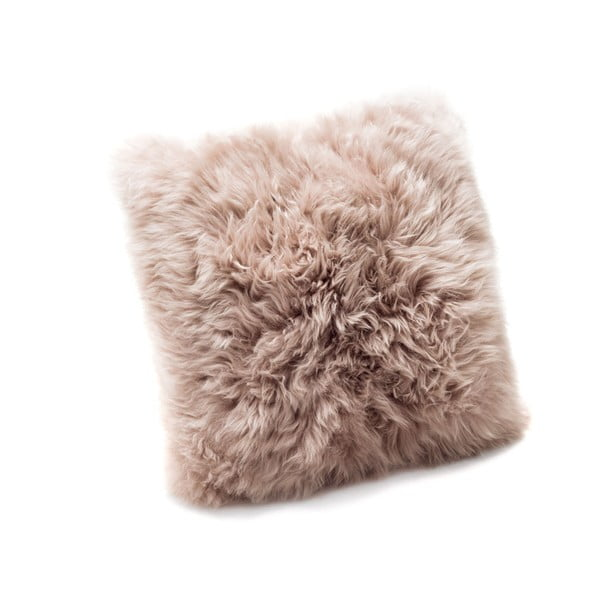 Pernă din blană de oaie Royal Dream Sheepskin, 45 x 45 cm, maro deschis