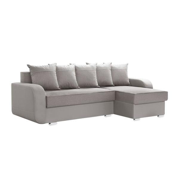 Destin szürke kinyitható jobb oldali kanapé, ágyneműtartóval - Interieur De Famille Paris