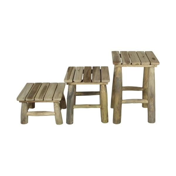 Sada 3 stoliček z teakového dřeva HSM collection Squares