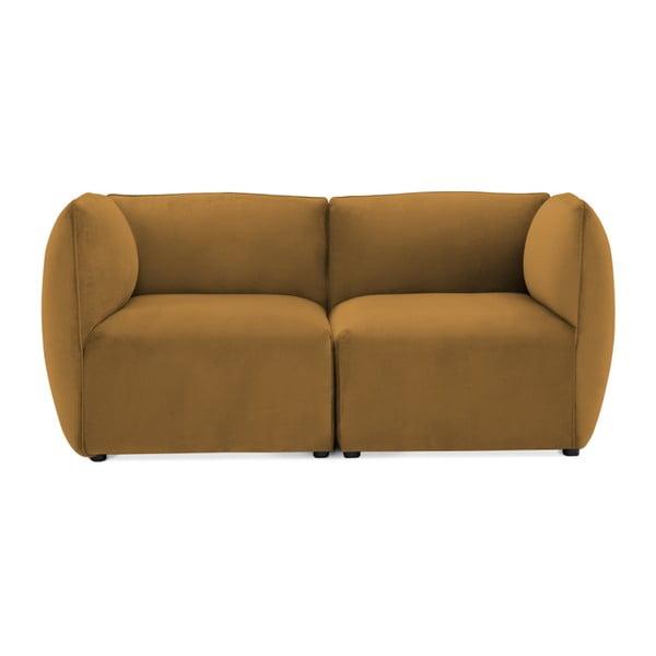 Canapea modulară cu 2 locuri Vivonita Velvet Cube, galben muștar
