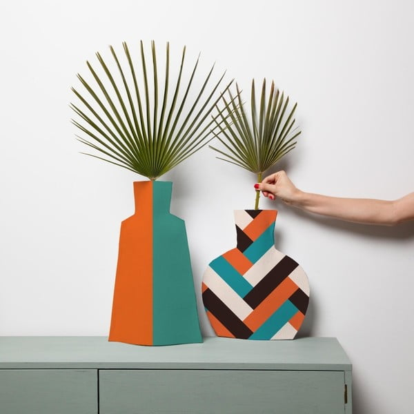 Sada 2 textilních váz na květiny Really Nice Things Orange Block