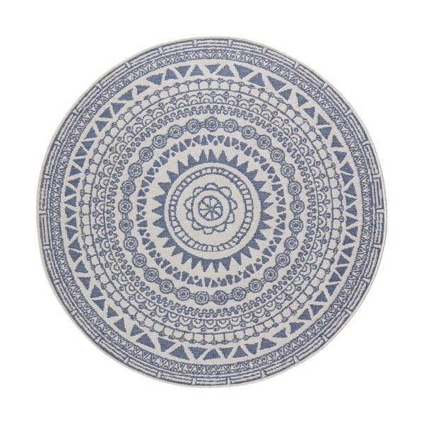Niebiesko-kremowy dywan odpowiedni na zewnątrz Bougari Coron, ø 200 cm