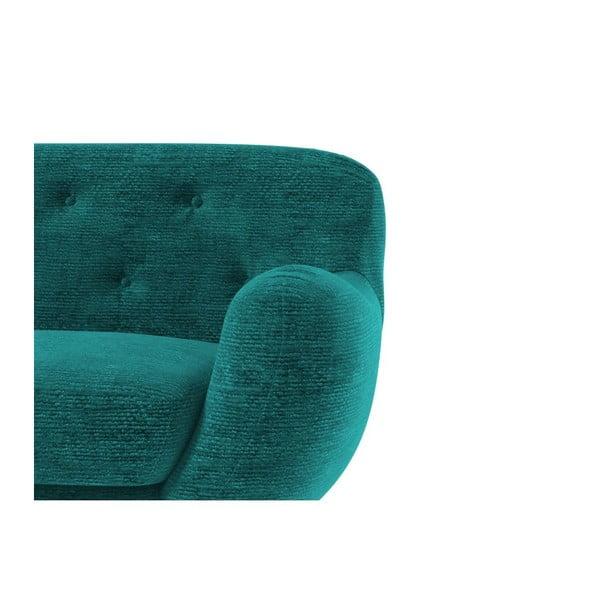Tyrkysové sofa Zefir pro tři, lehce poškozené