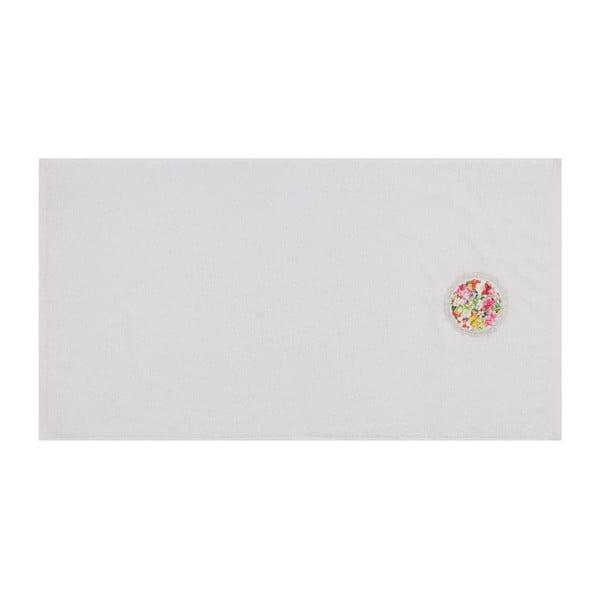 Set bílého ručníku a bílé osušky s barevným detailem Jardin