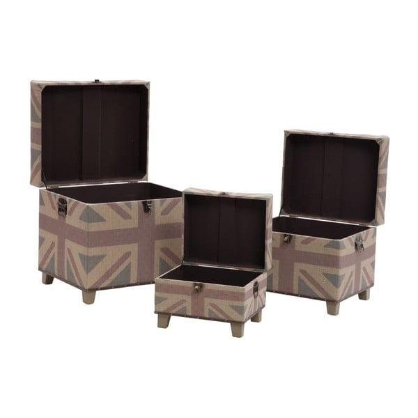 Sada 3ks stoliček s odkládacím prostorem British