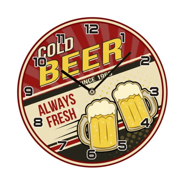 Skleněné hodiny Cold Beer, 30 cm