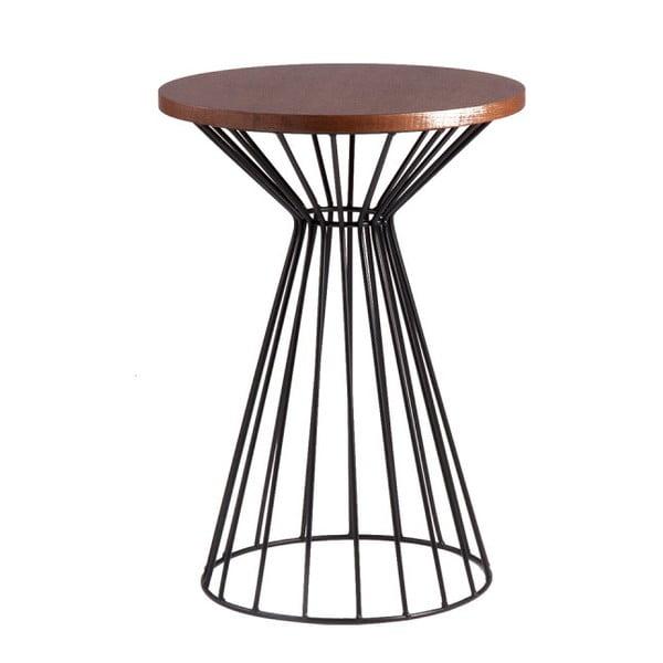 Czarny stolik z blatem w dekorze drewna orzechowego sømcasa Niko