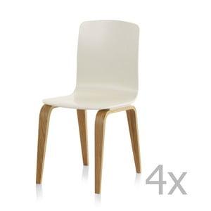 Sada 4 bílých jídelních židlí Geese